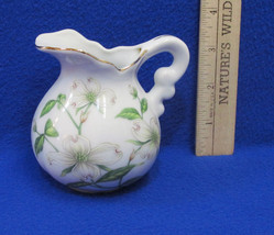 Vintage Lefton China Miniature Mini Pitcher Creamer White Floral Flower ... - $11.87
