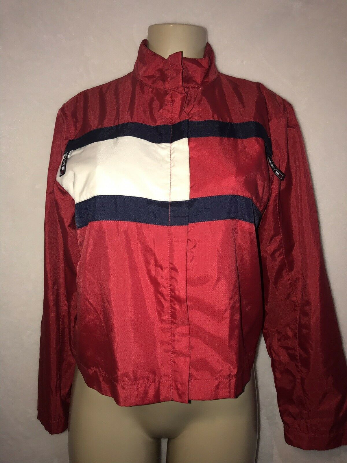 Vintage 90s TOMMY Jeans  HILFIGER Big Flag Logo Nylon Crop Jacket Colorblock S image 3