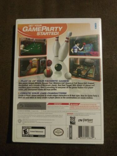 Game Party 3 (Nintendo Wii, 2009) Rated E 19 Hit Games Warner Bros. NIP
