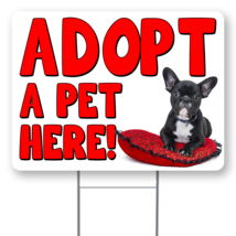 """Adopt A Pet Here 24"""" x 18"""" Double Sided Road Yard Sign: Heavy Duty Stake - $28.00"""