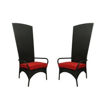 CC Outdoor Living 2 Black Resin Wicker Outdoor Patio King Chairs - Red C... - $993.70