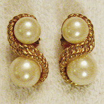 Avon Pearlesque Braided Twist Clip On Earrings Hypo Allergenic Studs VTG... - $19.75
