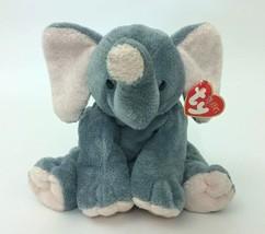"2002 Ty Pluffies Winks Elephant Plush W/ Original Tags 8"" Gray Pink - $17.81"