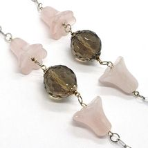 SILVER 925 NECKLACE, BLUEBELLS, FLOWERS, BELLS, PINK QUARTZ, CHALCEDONY image 3