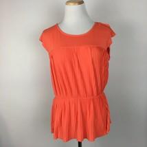 Merona Women's Short Sleeve Coral Orange Pleated Shirt Top Blouse Size M... - $10.79