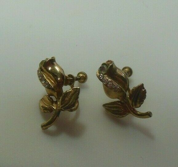 Vintage Signed Karu Rose Flower Rhinestone Screw-back Earrings