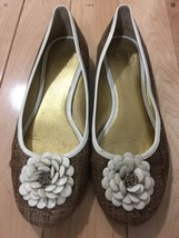 Tory Burch Shoes Flats Woven Rattan Floral Toe Detail Size 7 Spring East... - $43.62