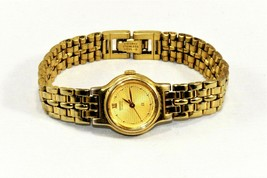 Seiko SX Gold Tone Gold Self Design Dial Women Quartz Watch New Battery ... - $18.53