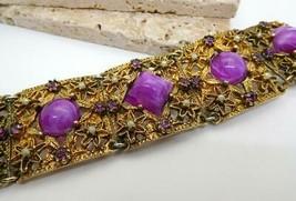 Vintage Ornate Purple Rhinestone Lucite White Pearl Gold Tone Panel Brac... - $43.55
