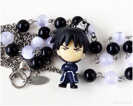 FMA Roy Anime Figure Necklace, Black and White, Stainless Steel, Japan - $22.00