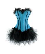 Blue Satin Burlesque Bustier Overbust Top Net Tutu Skirt PLUS SIZE Corse... - $91.66