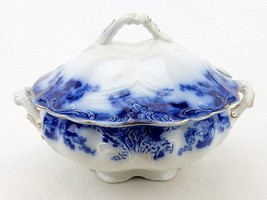 "Flow Blue 9"" Soup Tureen with Lid Vintage English Soup Tureen, Large Lid... - $68.55"