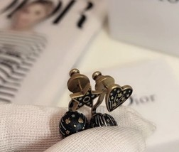 AUTHENTIC CHRISTIAN DIOR Metal Star Heart Earrings Black Gold image 10
