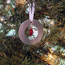 Small Aluminum and Crystal Circle Ornament - Octagon image 5