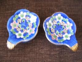 Teabag Holder ,Tea Strainer ,Flower Print Gold , Vintage , Porcelain 2 P... - $49.41