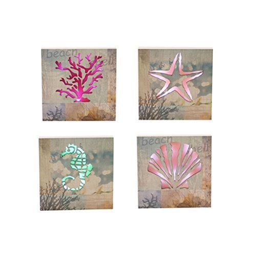 Light Up Backlit Collection of 4 Sea Life Canvas Wall Art