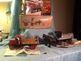 Lot of 2 Ertl Texaco Diecast Fuel Trucks-Horse & Carriage +1918 Flat Bed Banks - $22.85