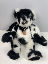 """Vermont Teddy Bear Company Holstein Cow Black White Jointed Bell Plush 15"""" - $44.55"""