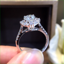 1.9Ct Round Attractive Cut Moissanite Halo Engagement Ring 14K White Gol... - $132.99