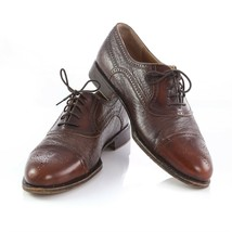 Johnston Murphy Domani Italian Brown Leather Cap Toe Brogue Oxford Shoes Mens 10 - $59.29