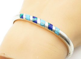 MEXICO 925 Silver - Vintage Azurite & Turquoise Shiny Bangle Bracelet - ... - $108.61