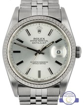 Rolex DateJust 36mm Silver Stick 16234 Stainless 18K Gold Jubilee Fluted Watch - $3,993.93
