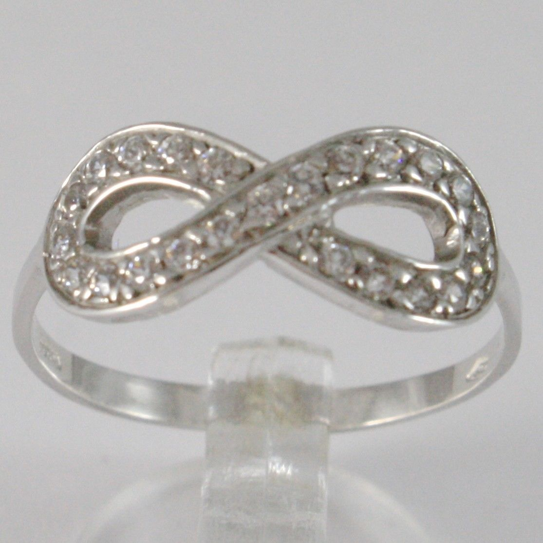 BAGUE EN OR BLANC 750 18K, SYMBOLE INFINI AVEC ZIRCON, MADE IN ITALY