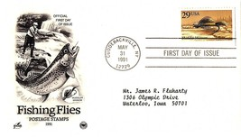 May 31, 1991 First Day of Issue, Postal Society Cover, Fishing Flies, Mu... - $0.99
