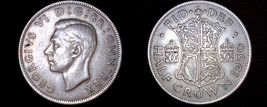 1950 Great Britain 1/2 Crown World Coin - UK - England - $11.99
