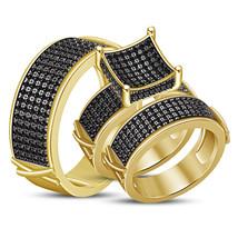 14k Yellow Gold Fn 925 Solid Silver His Her Wedding Black Diamond Trio R... - $158.99