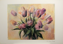 Pink Tulips Rare Signed Print Michel Fedi French Morrocan Painter 1990s - $24.95