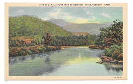 Vermont Green Mountains View of Camels Hump from Winooski River Linen Po... - $4.99