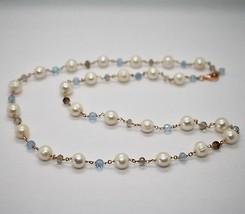 925 Silver Necklace Laminate Rose Gold with Quartz pearls and aquamarines image 2