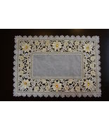 """1 Pcs 16x72"""" Rectangular White Embroidered Rhine Stone Floral Placemat E... - $36.17"""