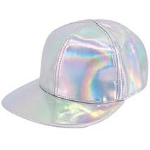 Naimo Adjustable Strap Baseball Cap Holographic Rainbow Casual Cap Silver - $14.10