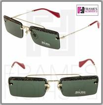 Miu Miu Rectangle Sunglasses MU59TS KI63O1 Pale Gold Frame W/ Green Lens - $148.49
