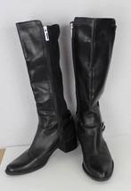 Calvin Klein Herminia women's black leather fabric riding boots size 9M - $36.86