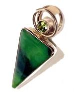 Sterling Silver Pendant Green Blue Art Glass and Peridot Charles Albert ... - $99.95