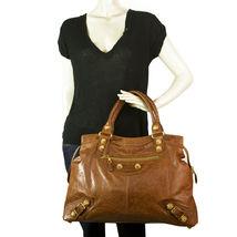 BALENCIAGA Tan Brown Leather Giant 21 Gold Weekender Bag retailed at $2,385  image 9