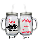 Personalized Disney Minnie & Mickey Hand Mouse Couple 16oz Glass Mason J... - $16.99