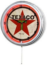 "Retro 15"" Red Texaco Star Gas Station Service Sign Man Cave Wall Clock NEW - $83.95"