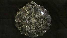 "Indiana Glass Wild Rose Divided Relish Dish, 8.25"" Clear Handled Bon Bon  - $4.74"