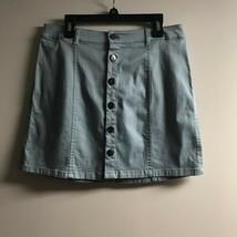 Forever 21 Women's Blue Light Wash Denim Button Front Cotton A-Line Skir... - $20.79