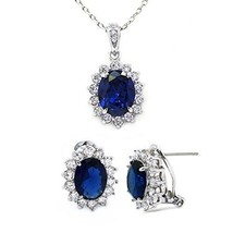 Jewelry Set Blue CZ Pendant Necklace Matching Stud Earrings Omega Post F... - $87.61