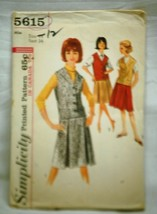 Old Vintage 1964 Simplicity Sewing Pattern 5615 Miss Size 14 Skirt & Weskit - $6.92