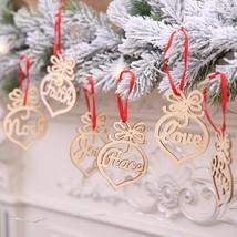 Christmas Tree Decoration Pendant Wooden Material 6pcs Per Set Home Deco... - $6.92