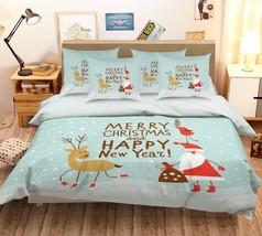 3D Santa Claus Snowing 2 Bed Pillowcases Quilt Duvet Single Queen King US Summer - $102.84+