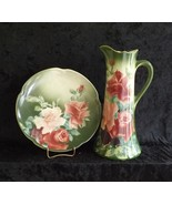 Pitcher and Plate Tall Hand-Painted K&G Lunéville (France) Antique Porce... - $49.99