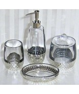 4pc Bella Lux Glass Silver Bath Vanity Set soap tray pump cotton jar tum... - $117.55