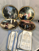 "Precious Moments 4 Plates Old Testament Favorites 7-5/8"" Gold Trimmed Papers Inc - $29.86"